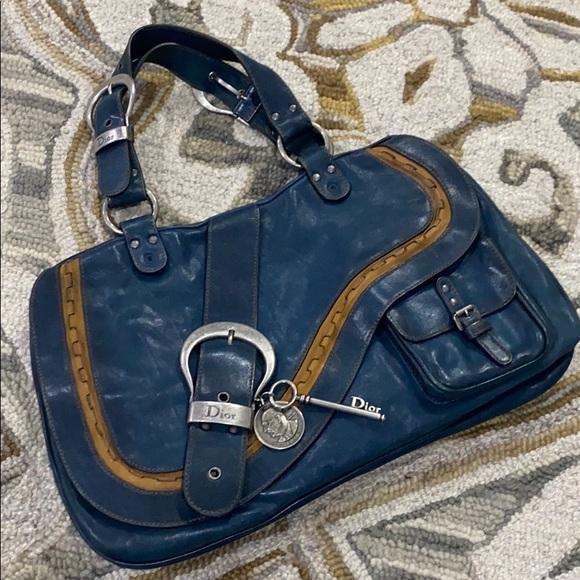 Dior Handbags - 💕 Christian Dior Gaucho blue tan saddle bag 💕